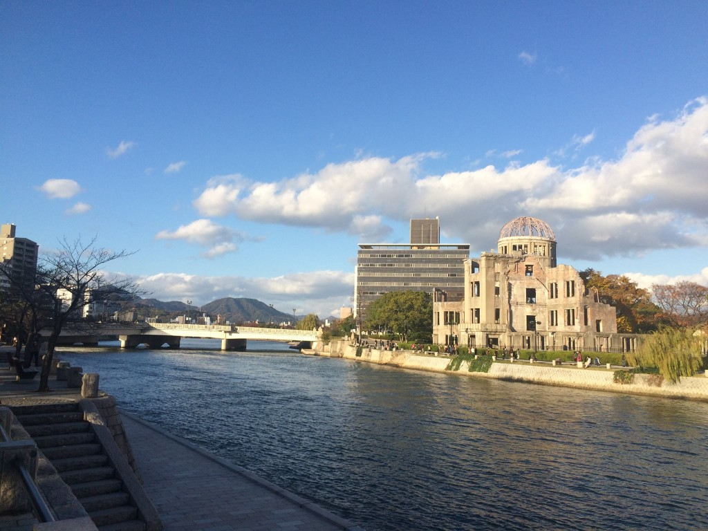 """Across the river from the museum is the actual memorial, with the """"Atomic Bomb Dome"""" building."""